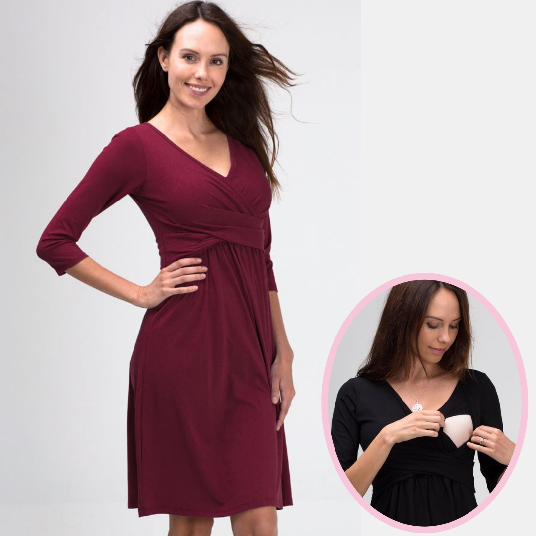 Wrapped In Love Dress in Deep Cabernet